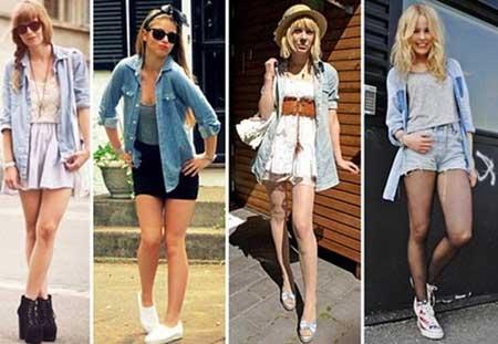 camisas jeans femininas