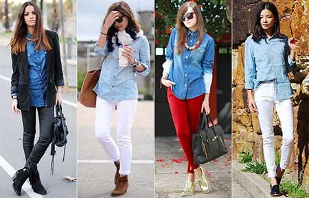 camisa jeans para mulheres