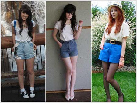 shorts com cintura alta