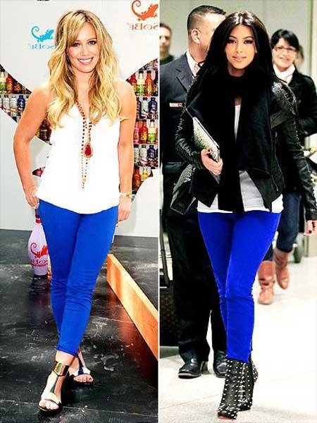 look com calça azul