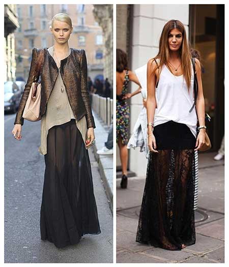 tendências de saias longas