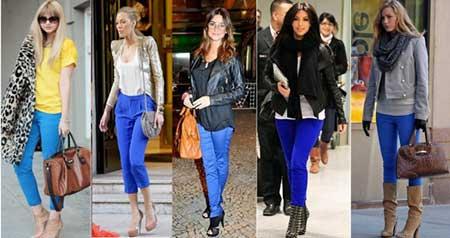 calça azul da moda