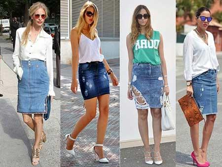 Resultado de imagem para looks com saia jeans