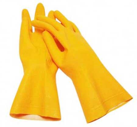 luvas amarelas para cuidados