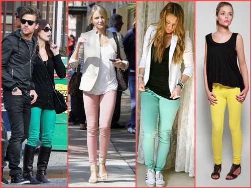 fotos de calças coloridas